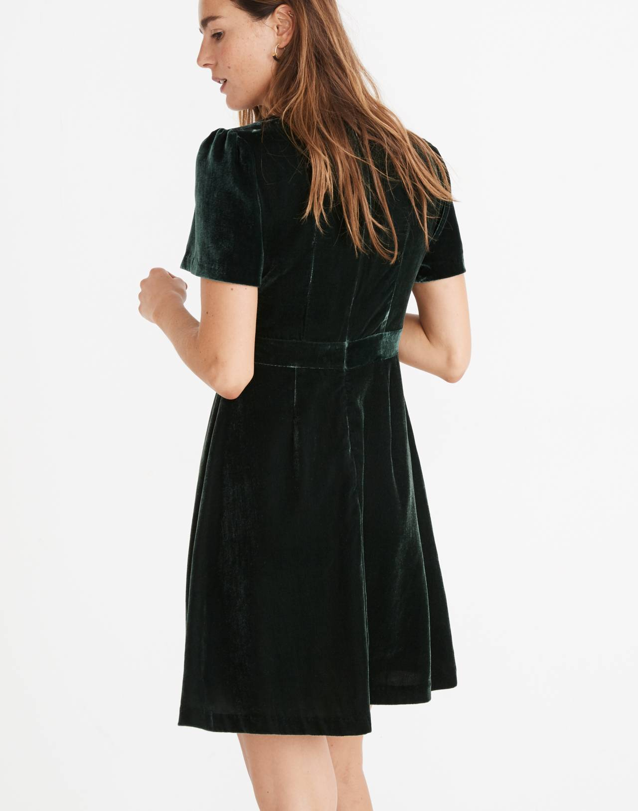 Velvet Mini Dress in smoky spruce image 3