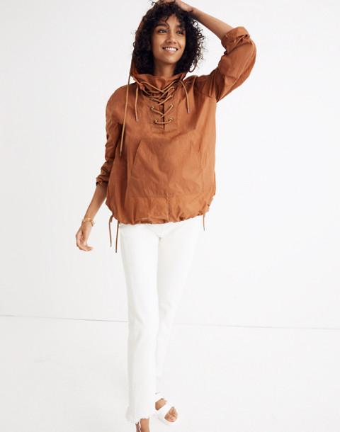 Lace-Up Popover Jacket in warm nutmeg image 2