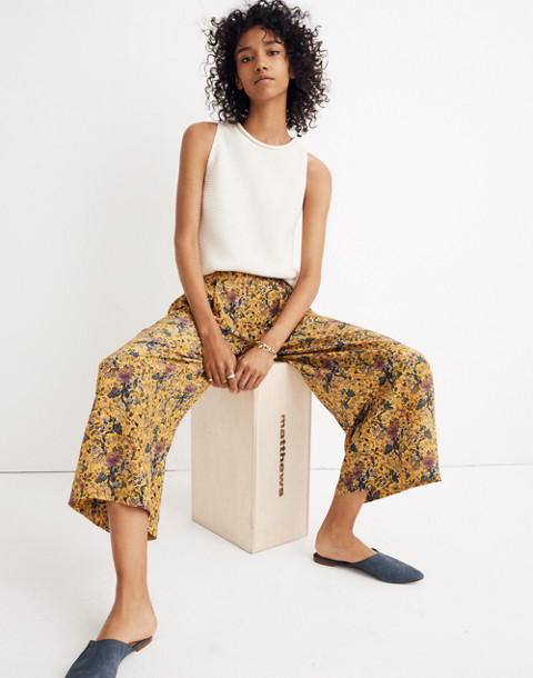 Madewell x Karen Walker® Silk Floral Potter Pants in upholstery mystic yellow image 3