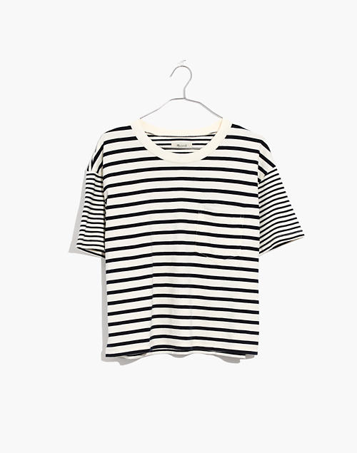 ee30679d Easy Crop Tee in Stripe-Mix in bright ivory image 4
