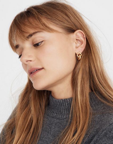 Double Link Hoop Earrings in vintage gold image 2