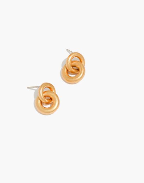 Double Link Hoop Earrings in vintage gold image 1