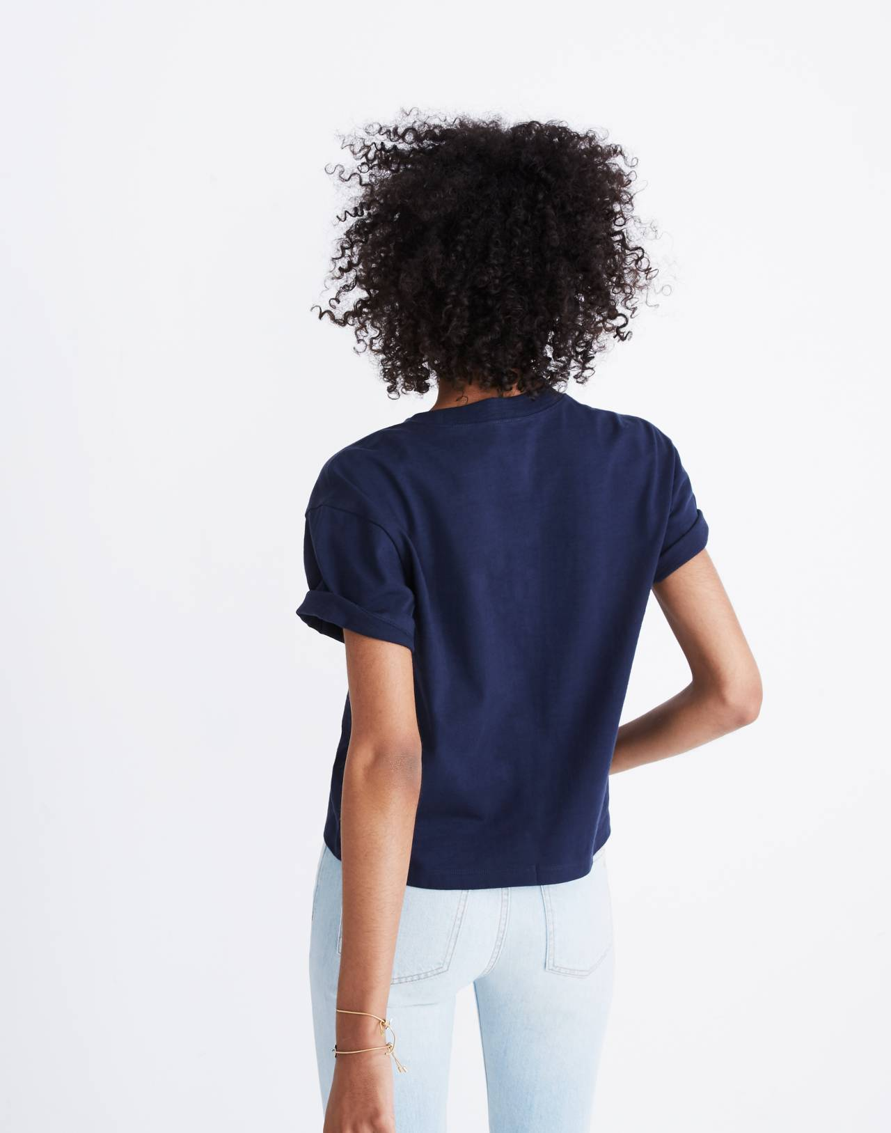 Embroidered Madewell Easy Crop Tee in deep navy image 2