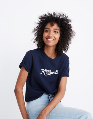 Embroidered Madewell Easy Crop Tee in deep navy image 3