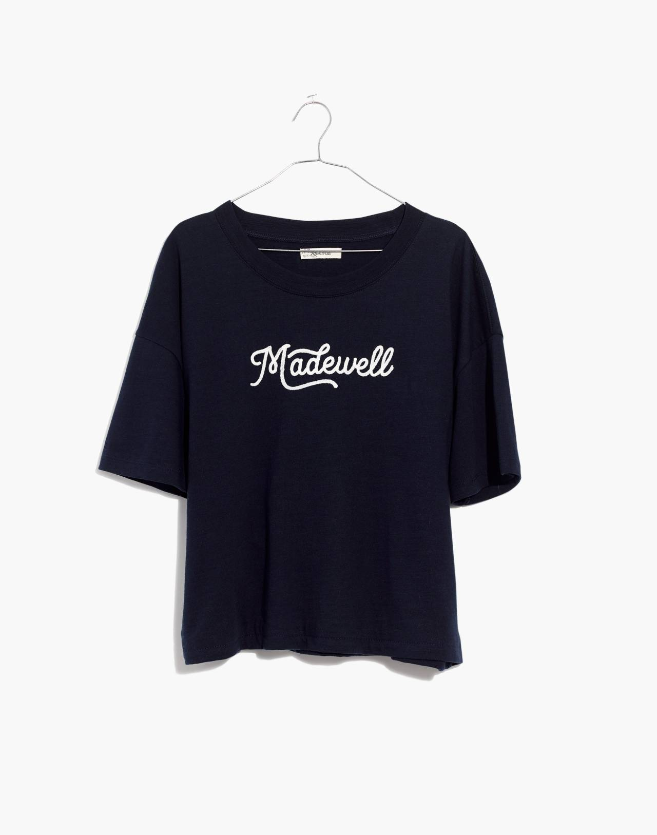 Embroidered Madewell Easy Crop Tee in deep navy image 4