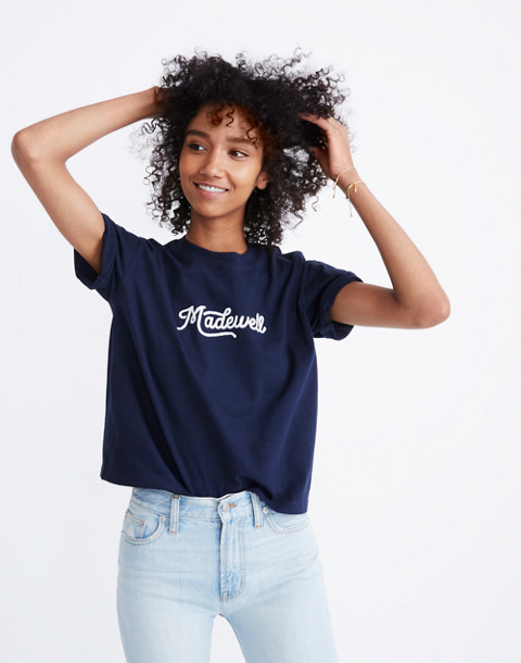 Embroidered Madewell Easy Crop Tee in deep navy image 1