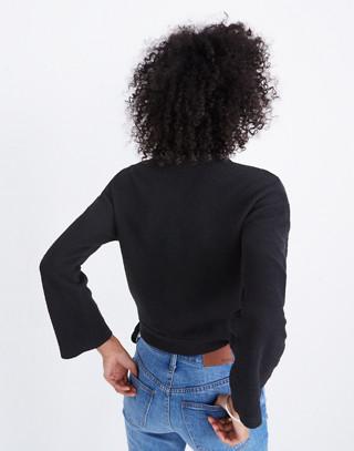 Texture & Thread Wrap Top in true black image 3