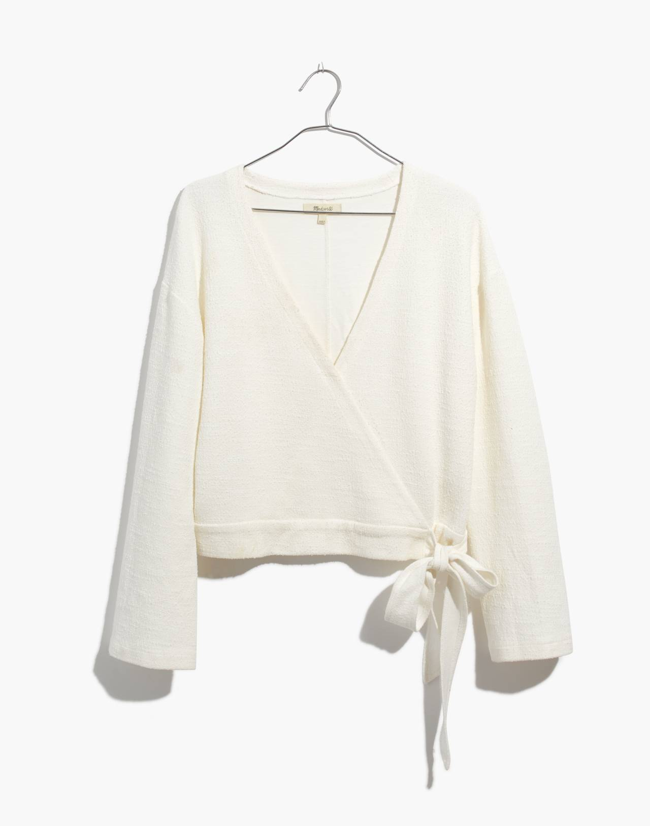Texture & Thread Wrap Top in bright ivory image 4