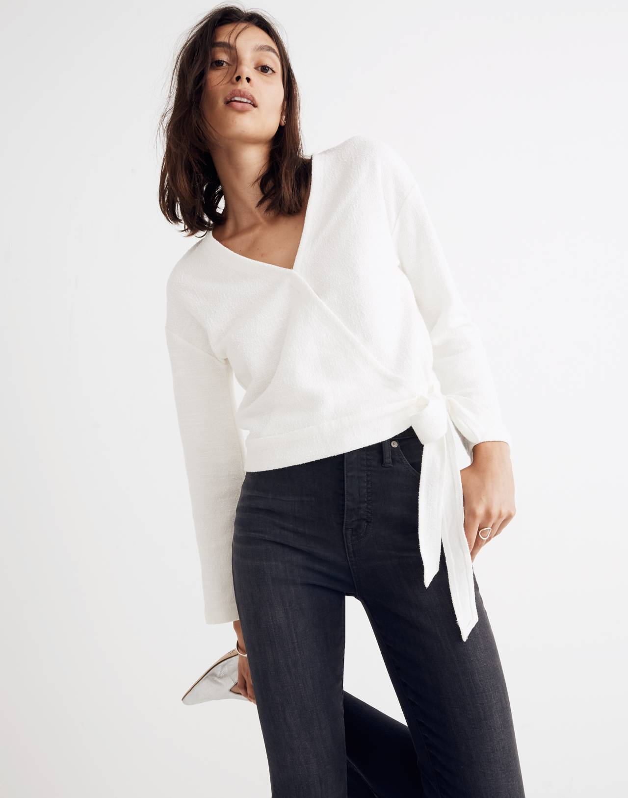 Texture & Thread Wrap Top in bright ivory image 1
