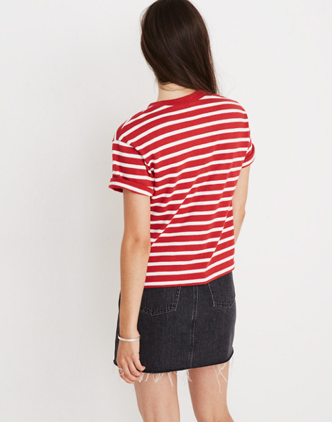 Striped Ciao For Now Tee in vibrant goji image 3