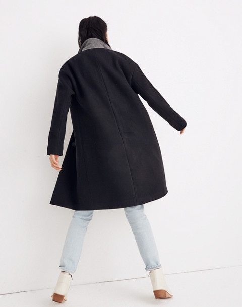 Bergen Cocoon Coat in true black image 3