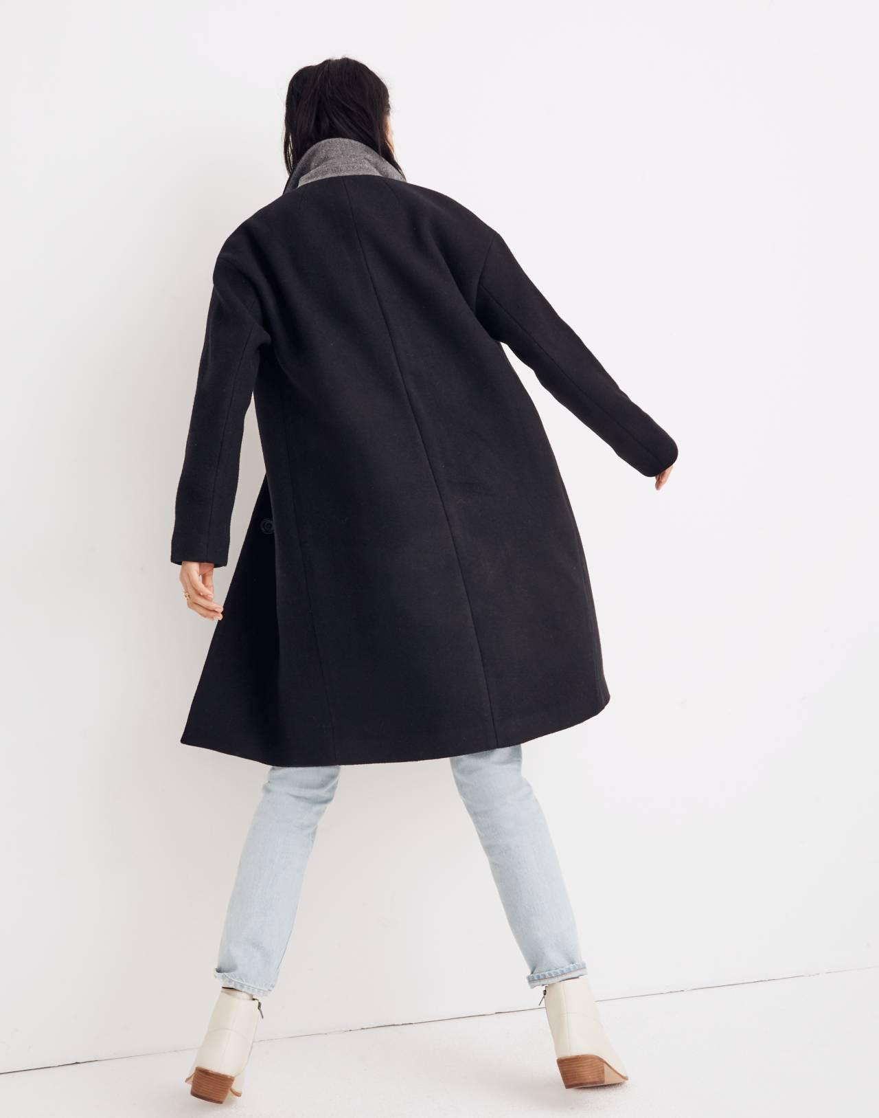 Bergen Cocoon Coat in true black image 3