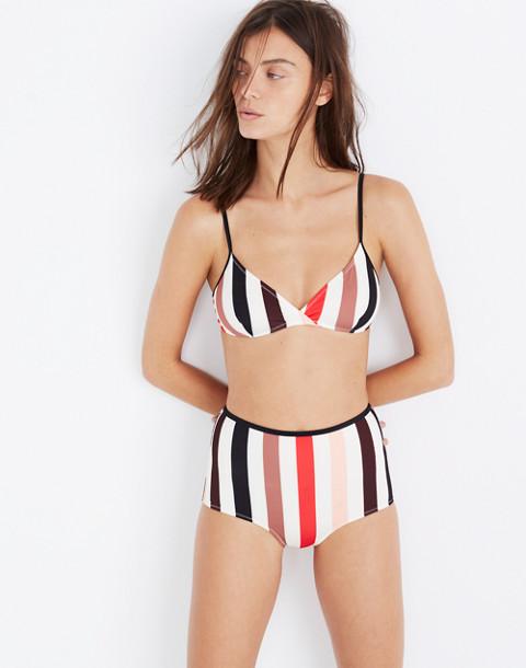 Solid & Striped® Brigitte Bikini Top in lipstick stripe image 1