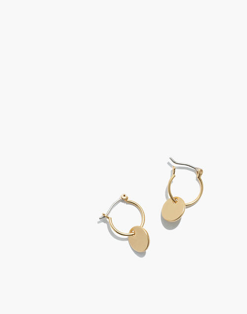617bd5e4158d40 Disc Charm Mini Hoop Earrings in vintage gold image 1