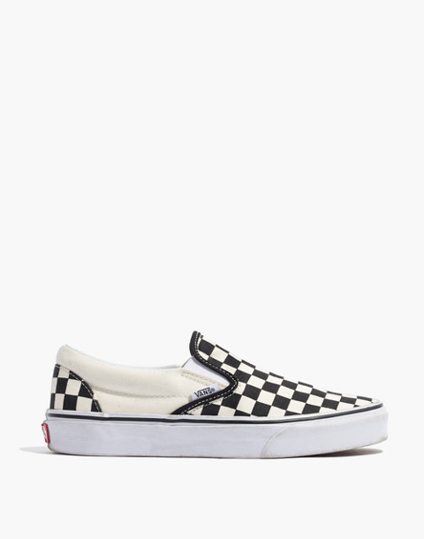 Vans® Unisex Classic Slip-On Sneakers in Black Checkerboard in black white image 3