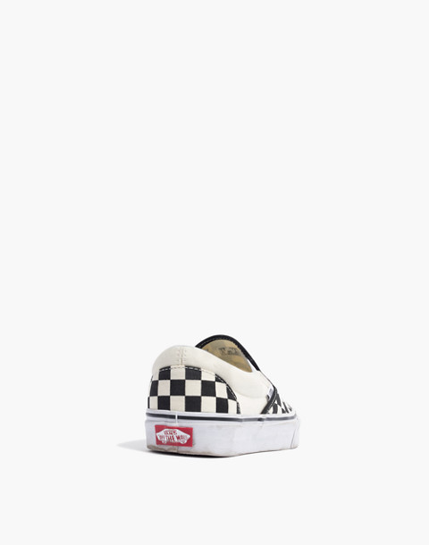 Vans® Unisex Classic Slip-On Sneakers in Black Checkerboard in black white image 4