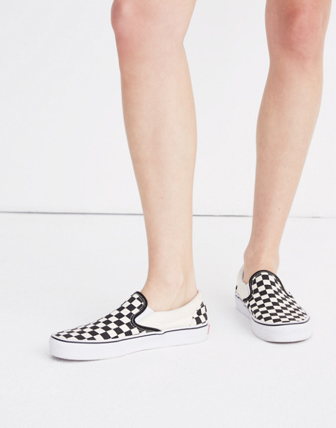 Vans® Unisex Classic Slip-On Sneakers in Black Checkerboard in black white image 2