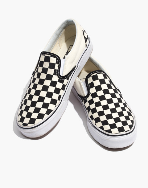 Vans® Unisex Classic Slip-On Sneakers in Black Checkerboard in black white image 1