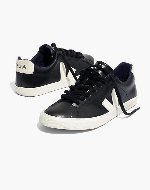 457e27900b7716 Veja trade  Esplar Low Sneakers in Black Leather in black pierre ...
