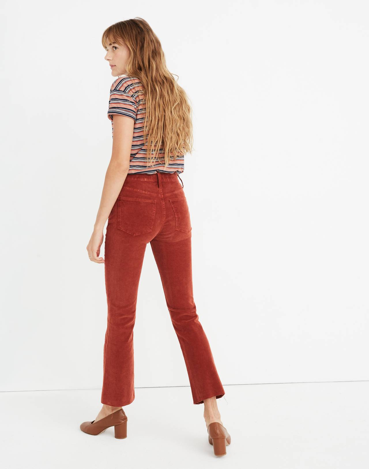 Petite Cali Demi-Boot Jeans: Corduroy Edition in canterbury red image 3