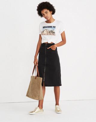 Denim Zip Midi Skirt in Lunar Wash