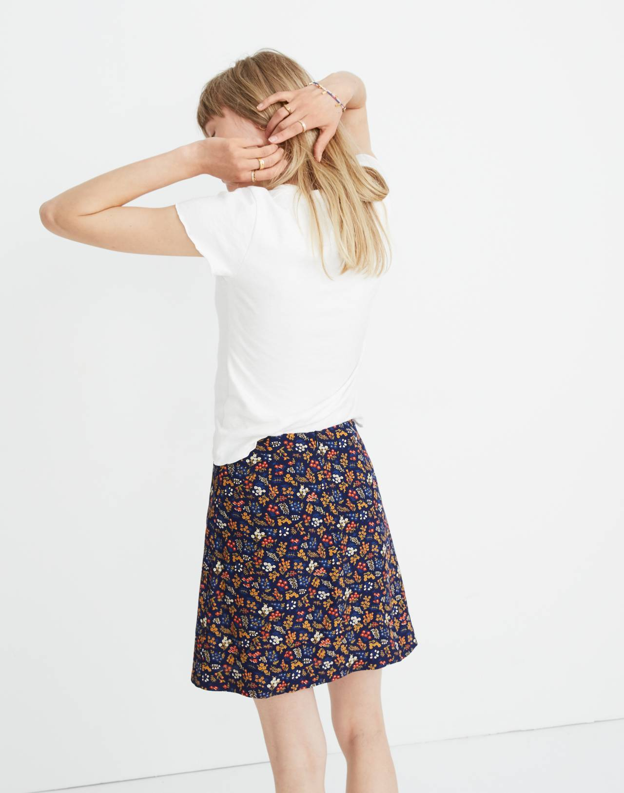 Side-Button A-Line Mini Skirt in Garden Party in liberty blue night image 2