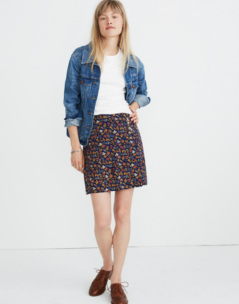 Side-Button A-Line Mini Skirt in Garden Party in liberty blue night image 1