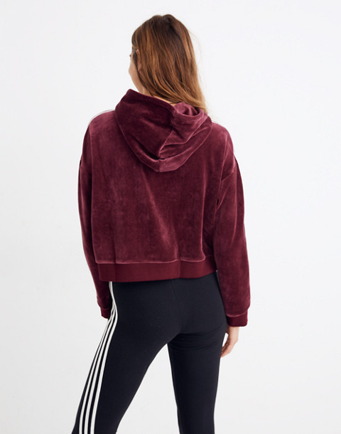 Adidas® Originals Velour Cropped Hoodie Sweatshirt in burgundy stripe image 3