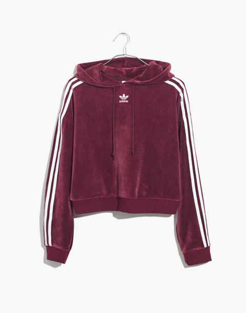 Adidas® Originals Velour Cropped Hoodie Sweatshirt in burgundy stripe image 4