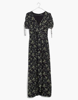 Tulip-Sleeve Maxi Dress in Antique Flora in october classic black image 4