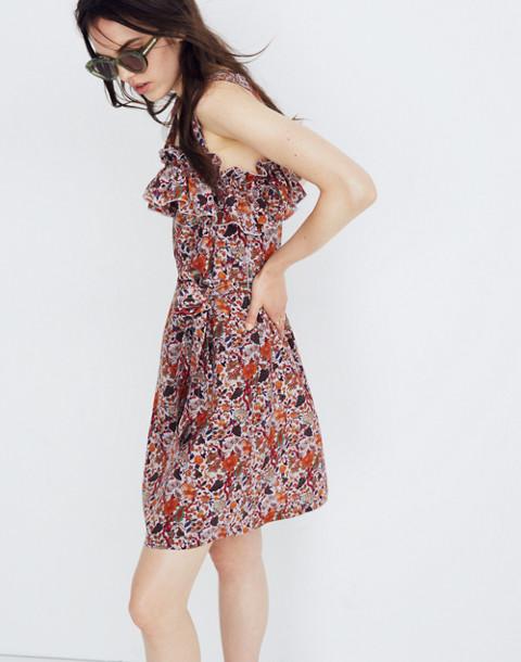 Madewell x Karen Walker® Silk Floral Rosalie Ruffled Dress in upholstery violet tint image 3