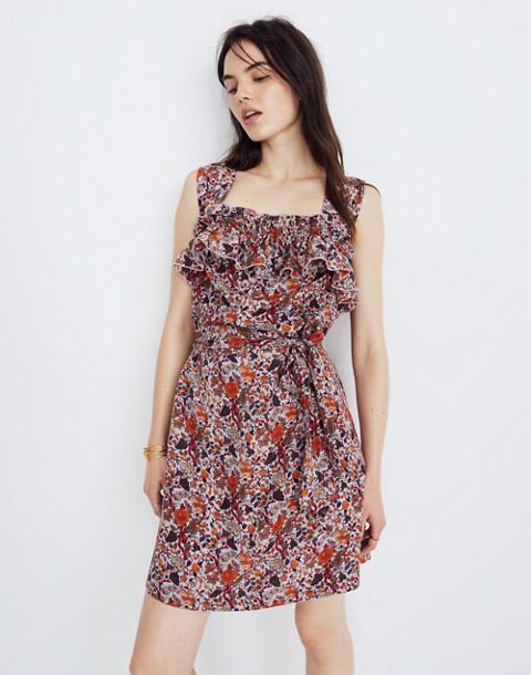 Madewell x Karen Walker® Silk Floral Rosalie Ruffled Dress in upholstery violet tint image 1