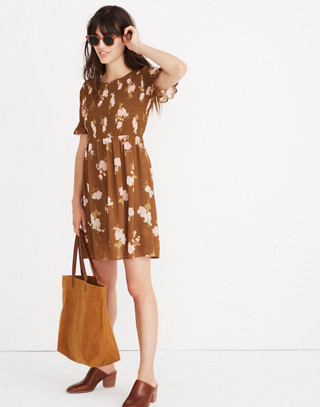 Smocked-Top Dress in Retro Bouquet in vintage weathered olive image 2