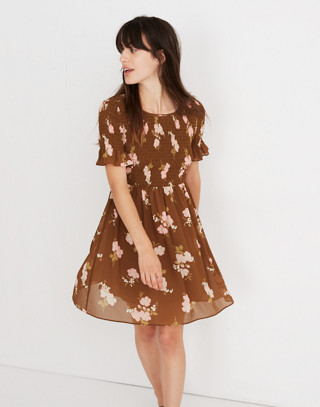 Smocked-Top Dress in Retro Bouquet in vintage weathered olive image 1