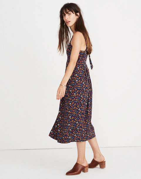 Tie-Strap Midi Dress in Garden Party in liberty blue night image 2