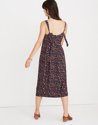 Tie-Strap Midi Dress in Garden Party in liberty blue night image 3