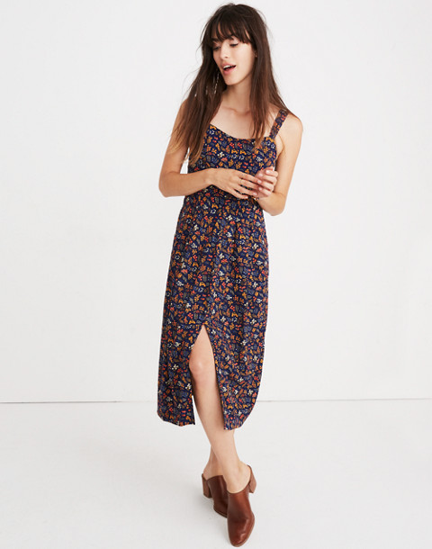 Tie-Strap Midi Dress in Garden Party in liberty blue night image 1