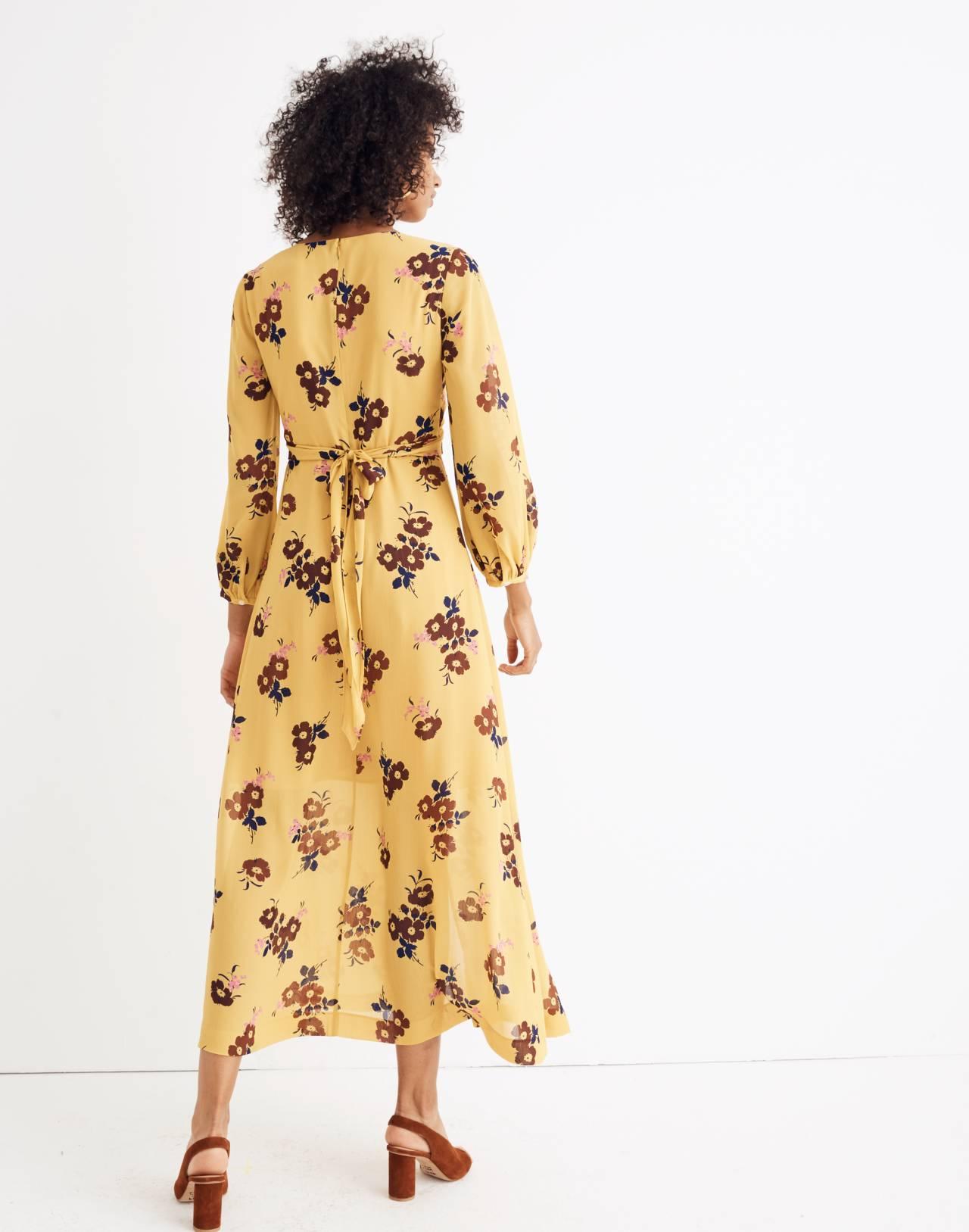 Wrap-Around Maxi Dress in Retro Bouquet in vintage golden apple image 3