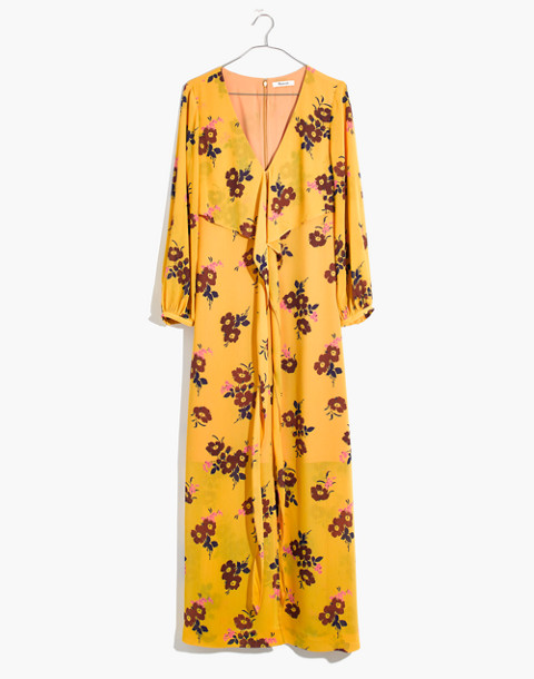 Wrap-Around Maxi Dress in Retro Bouquet in vintage golden apple image 4