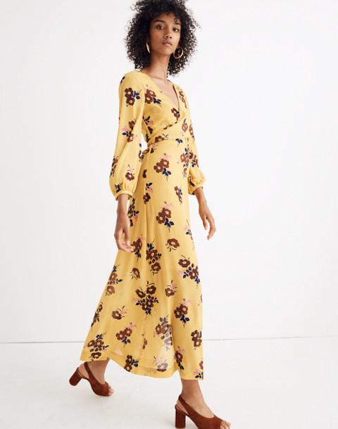 Wrap-Around Maxi Dress in Retro Bouquet in vintage golden apple image 1