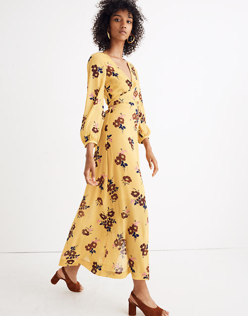 10244d1acb Wrap-Around Maxi Dress in Retro Bouquet in vintage golden apple image 1