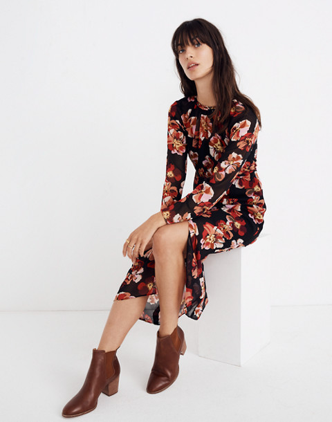 Shirred Midi Dress in French Rose in rose classic black image 2