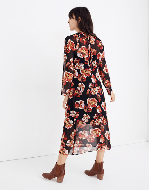 Shirred Midi Dress in French Rose in rose classic black image 3