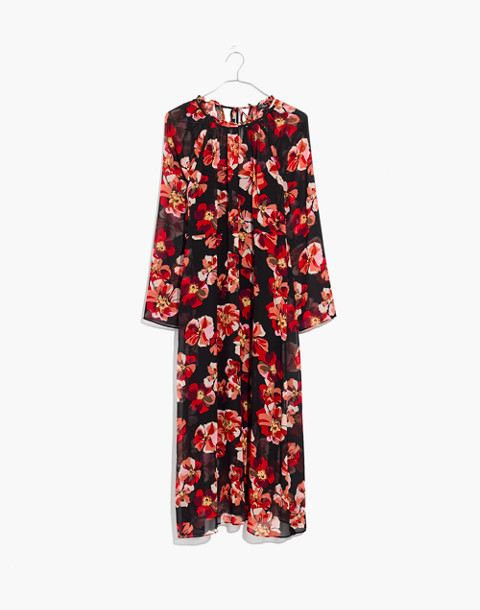 Shirred Midi Dress in French Rose in rose classic black image 4