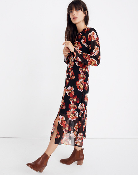 Shirred Midi Dress in French Rose in rose classic black image 1