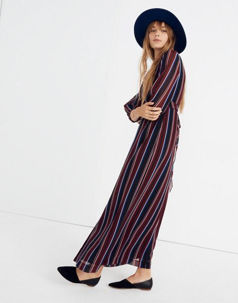 Wrap-Around Maxi Dress in Stockdale Stripe in modern classic black image 2