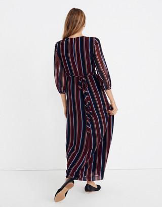 Wrap-Around Maxi Dress in Stockdale Stripe in modern classic black image 3