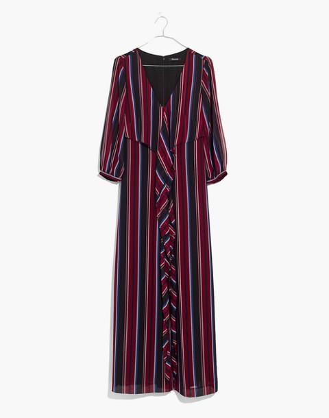Wrap-Around Maxi Dress in Stockdale Stripe in modern classic black image 4