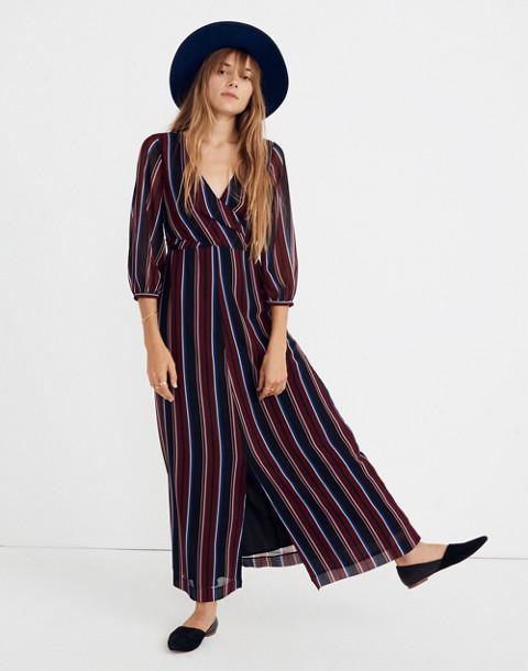 Wrap-Around Maxi Dress in Stockdale Stripe in modern classic black image 1