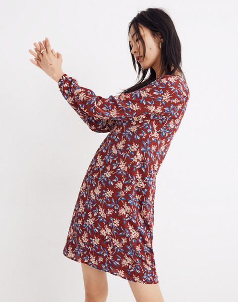 Button-Back Dress in Antique Flora in october dusty burgundy image 2